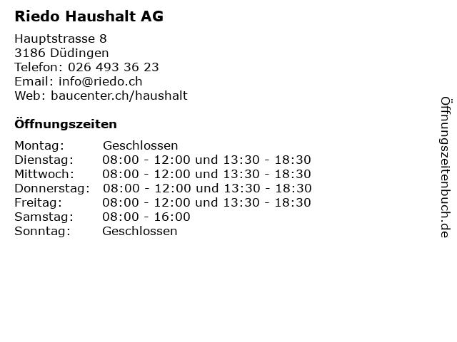 Riedo Haushalt AG in Düdingen: Adresse und Öffnungszeiten