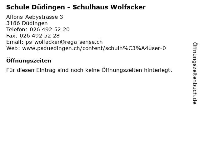 Schule Düdingen - Schulhaus Wolfacker in Düdingen: Adresse und Öffnungszeiten