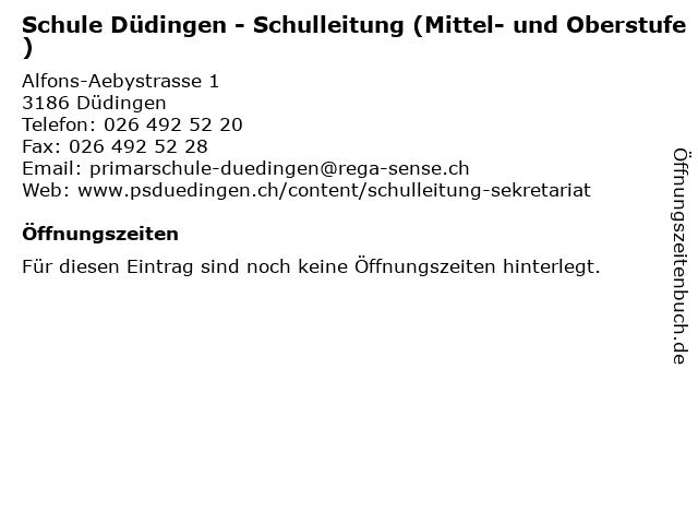 Schule Düdingen - Schulleitung (Mittel- und Oberstufe) in Düdingen: Adresse und Öffnungszeiten