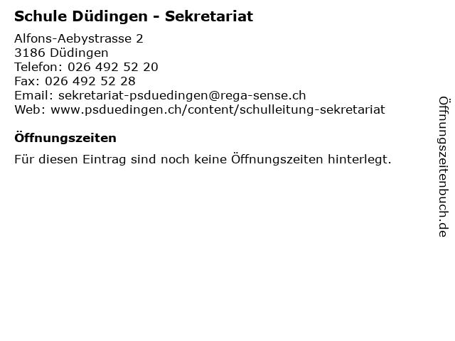 Schule Düdingen - Sekretariat in Düdingen: Adresse und Öffnungszeiten