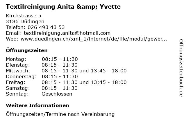 Textilreinigung Anita & Yvette in Düdingen: Adresse und Öffnungszeiten