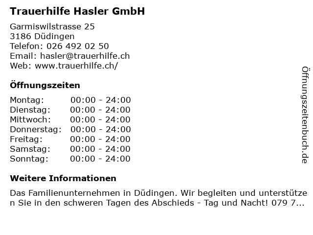 Trauerhilfe Hasler GmbH in Düdingen: Adresse und Öffnungszeiten