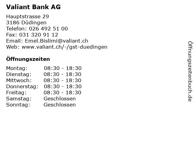 Valiant Bank AG in Düdingen: Adresse und Öffnungszeiten