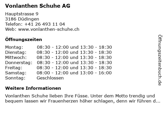 Vonlanthen Schuhe AG in Düdingen: Adresse und Öffnungszeiten