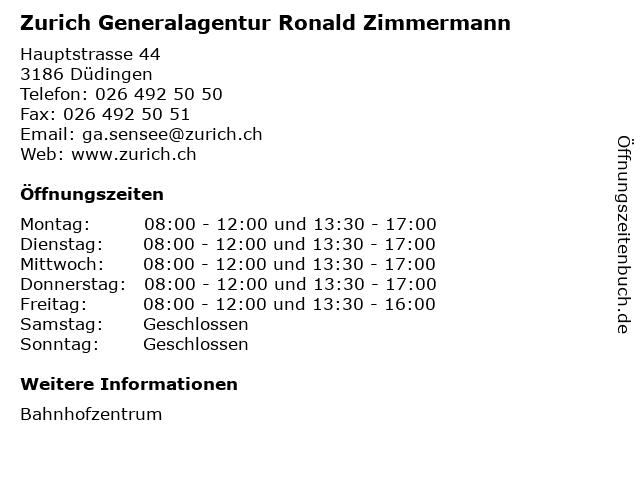 Zurich Generalagentur Ronald Zimmermann in Düdingen: Adresse und Öffnungszeiten