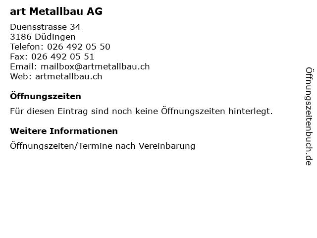 art Metallbau AG in Düdingen: Adresse und Öffnungszeiten