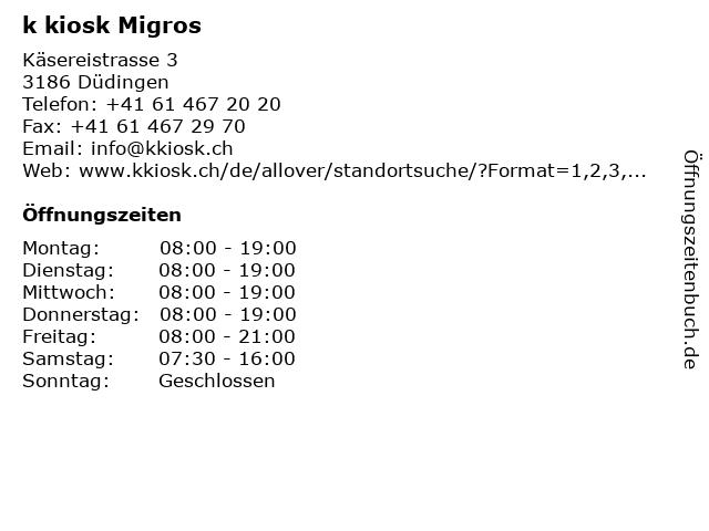 k kiosk Migros in Düdingen: Adresse und Öffnungszeiten