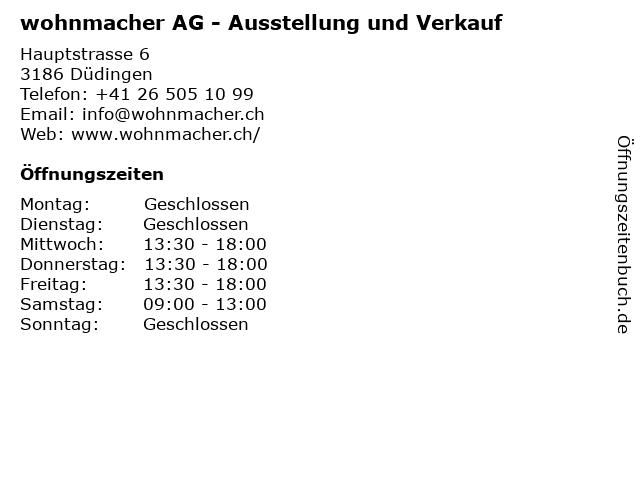 wohnmacher AG - Ausstellung und Verkauf in Düdingen: Adresse und Öffnungszeiten
