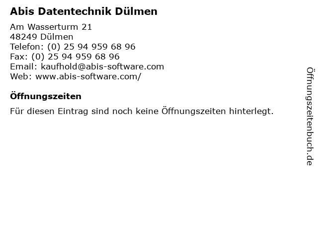 Abis Datentechnik Dülmen in Dülmen: Adresse und Öffnungszeiten