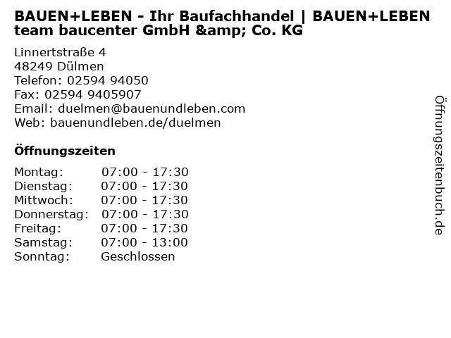 BAUEN+LEBEN team baucenter  GmbH & Co. KG in Dülmen: Adresse und Öffnungszeiten