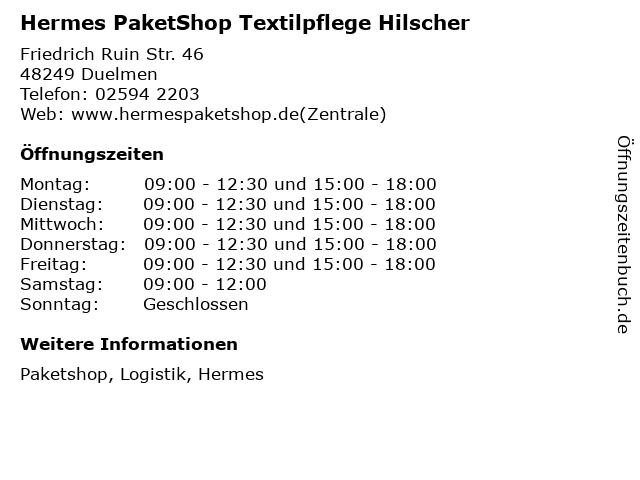 Hermes PaketShop Textilpflege Hilscher in Duelmen: Adresse und Öffnungszeiten