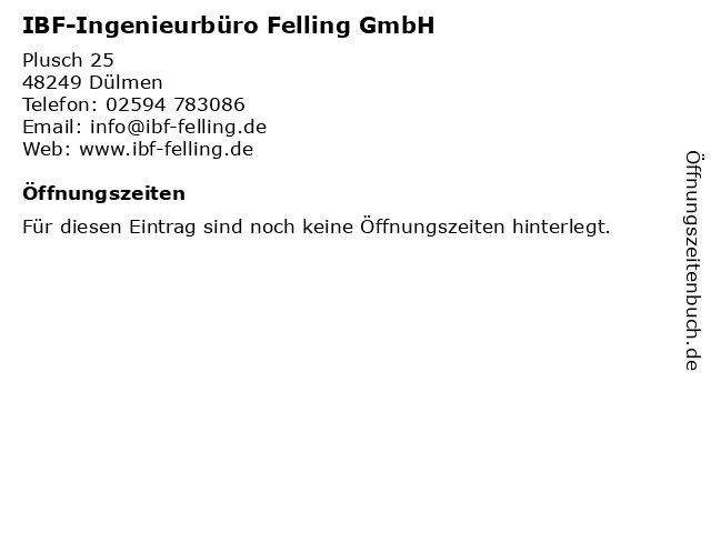 IBF-Ingenieurbüro Felling GmbH in Dülmen: Adresse und Öffnungszeiten