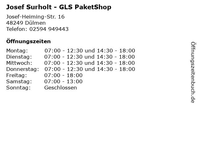 Josef Surholt - GLS PaketShop in Dülmen: Adresse und Öffnungszeiten