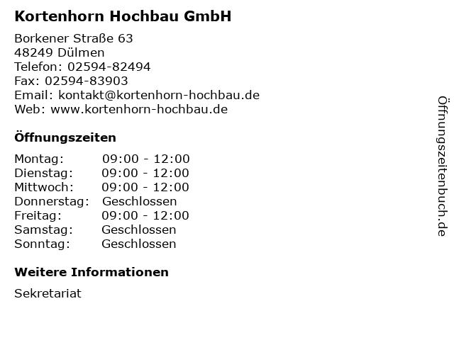 Kortenhorn Hochbau GmbH in Dülmen: Adresse und Öffnungszeiten
