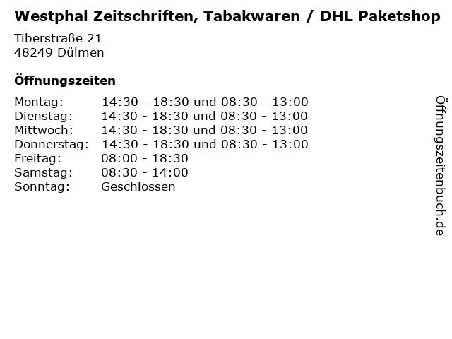 Westphal Zeitschriften, Tabakwaren / DHL Paketshop in Dülmen: Adresse und Öffnungszeiten