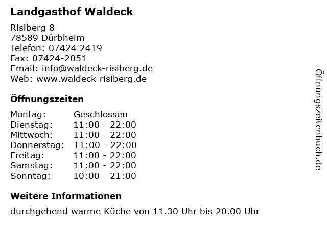 Landgasthof Waldeck in Dürbheim: Adresse und Öffnungszeiten