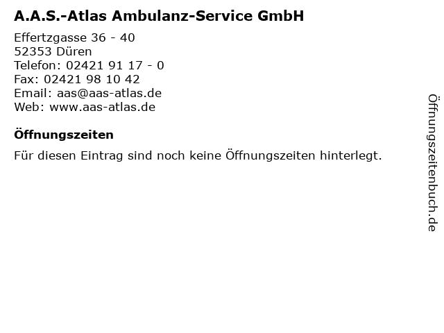 A.A.S.-Atlas Ambulanz-Service GmbH Versicherungen in Düren: Adresse und Öffnungszeiten