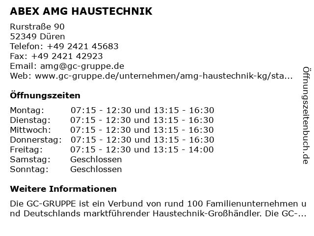 ABEX AMG HAUSTECHNIK in Düren: Adresse und Öffnungszeiten