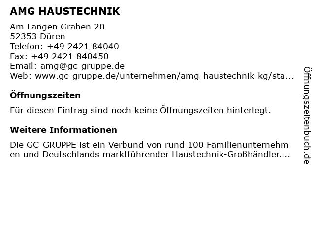 AMG HAUSTECHNIK in Düren: Adresse und Öffnungszeiten
