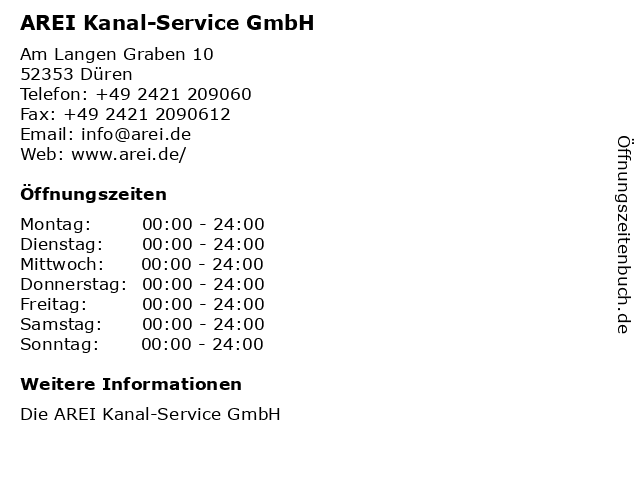 AREI Kanal-Service GmbH in Düren: Adresse und Öffnungszeiten