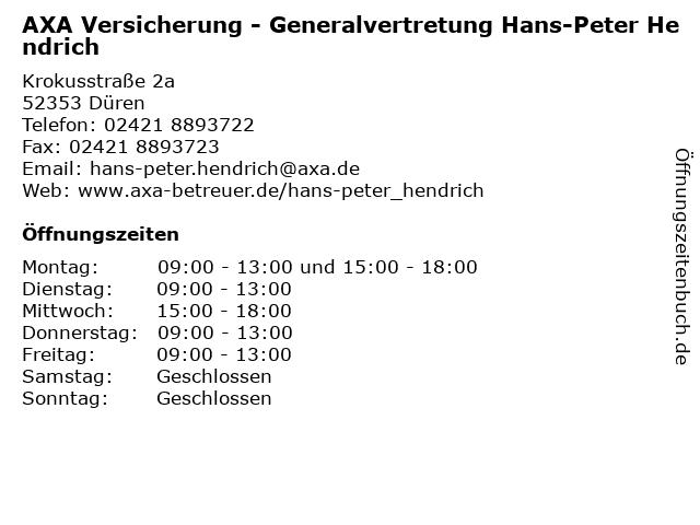AXA Versicherung - Generalvertretung Hans-Peter Hendrich in Düren: Adresse und Öffnungszeiten