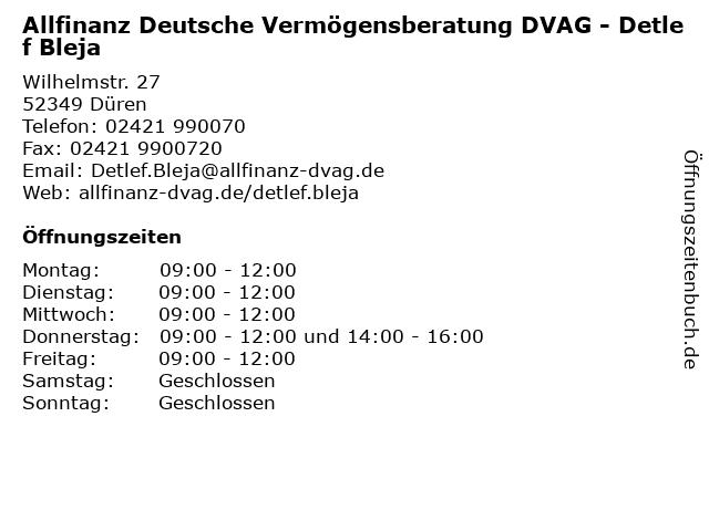Allfinanz Deutsche Vermögensberatung DVAG - Detlef Bleja in Düren: Adresse und Öffnungszeiten