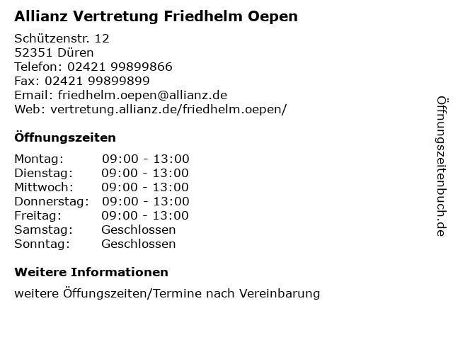 Allianz Vertretung Friedhelm Oepen in Düren: Adresse und Öffnungszeiten