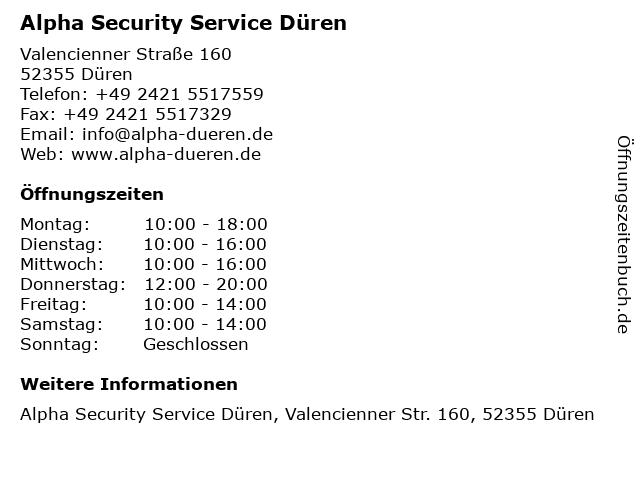 Alpha Security Service Düren in Düren: Adresse und Öffnungszeiten