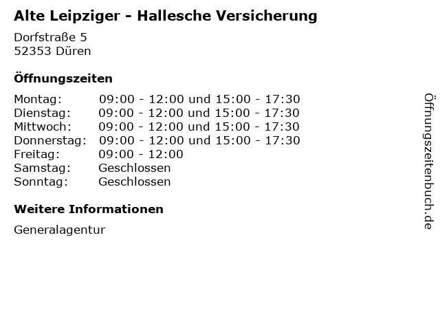 Alte Leipziger - Hallesche Versicherung in Düren: Adresse und Öffnungszeiten