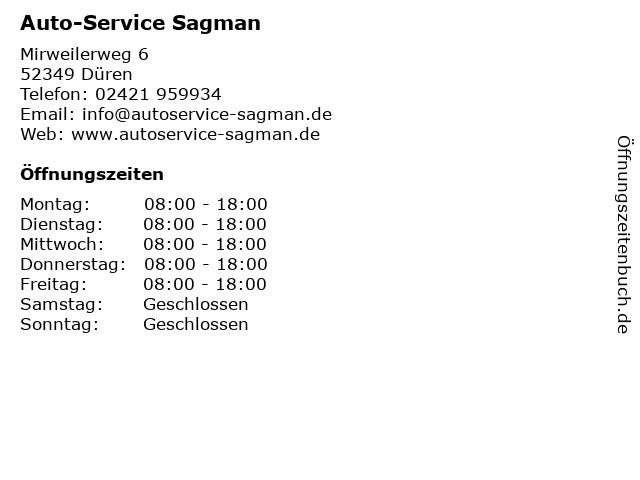 Auto-Service Sagman in Düren: Adresse und Öffnungszeiten
