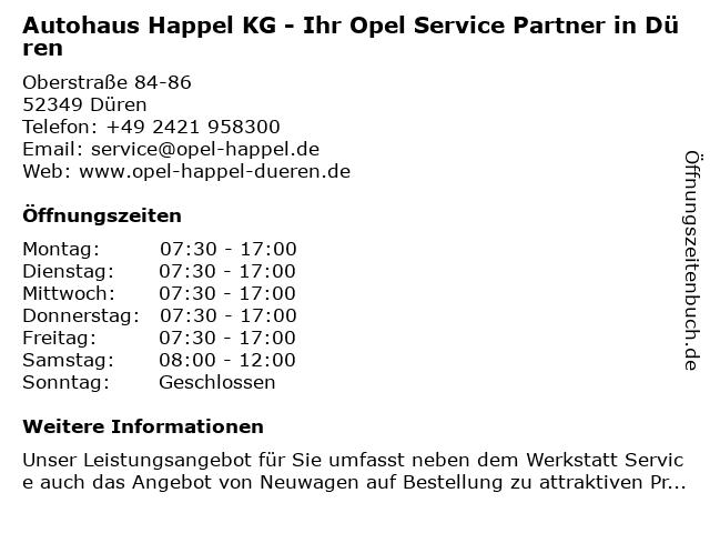 Autohaus Happel KG - Ihr Opel Service Partner in Düren in Düren: Adresse und Öffnungszeiten