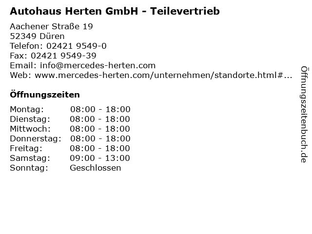 Autohaus Herten GmbH - Teilevertrieb in Düren: Adresse und Öffnungszeiten