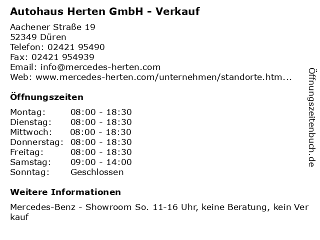 Autohaus Herten GmbH - Verkauf in Düren: Adresse und Öffnungszeiten