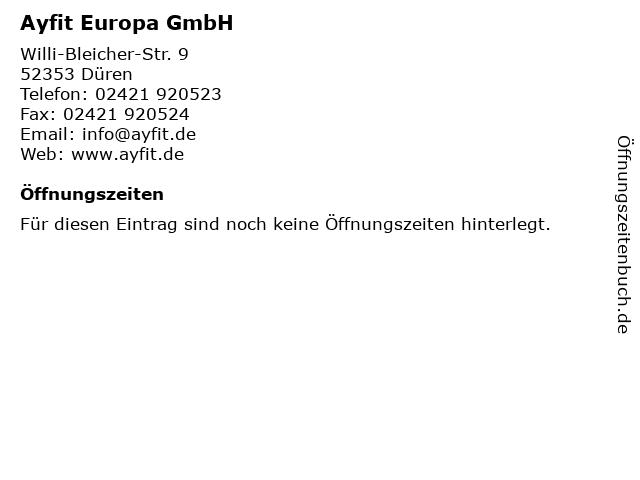 Ayfit Europa GmbH in Düren: Adresse und Öffnungszeiten