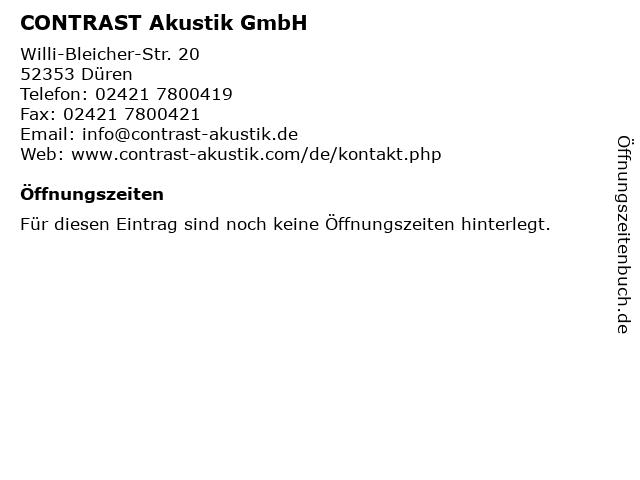 CONTRAST Akustik GmbH in Düren: Adresse und Öffnungszeiten