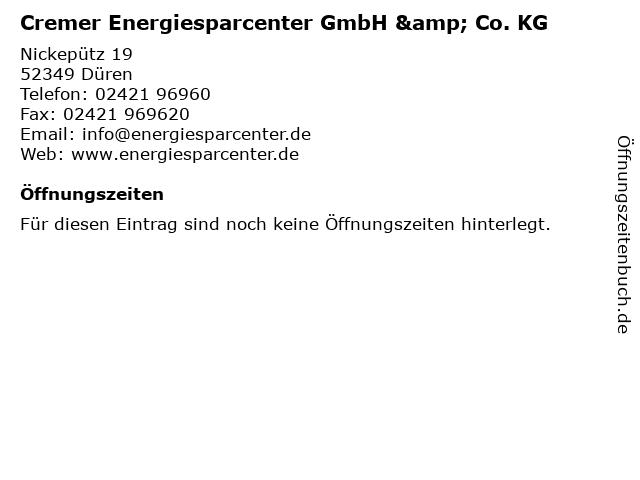 Cremer Energiesparcenter GmbH & Co. KG in Düren: Adresse und Öffnungszeiten