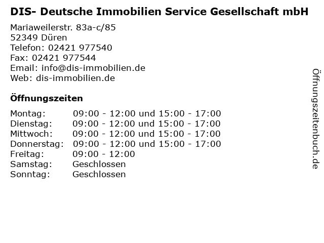 DIS- Deutsche Immobilien Service Gesellschaft mbH in Düren: Adresse und Öffnungszeiten