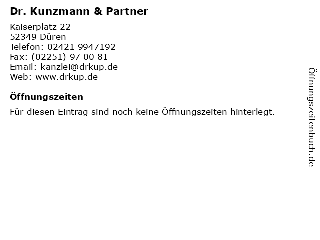 Dr. Kunzmann & Partner in Düren: Adresse und Öffnungszeiten