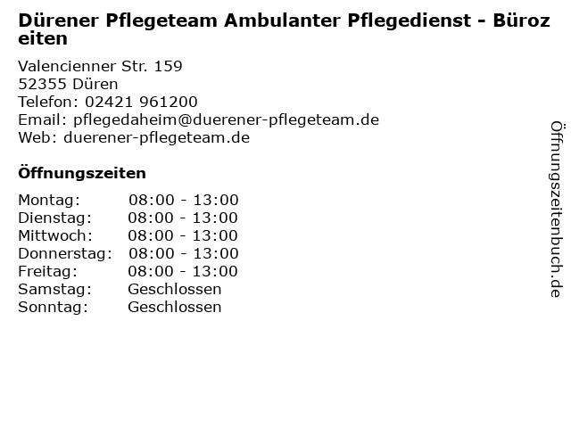 Dürener Pflegeteam Ambulanter Pflegedienst - Bürozeiten in Düren: Adresse und Öffnungszeiten