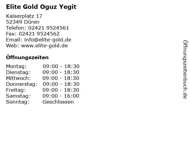 Elite Gold Oguz Yegit in Düren: Adresse und Öffnungszeiten
