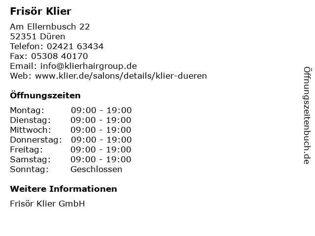 Frisör Klier GmbH in Düren: Adresse und Öffnungszeiten
