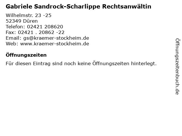 Gabriele Sandrock-Scharlippe Rechtsanwältin in Düren: Adresse und Öffnungszeiten