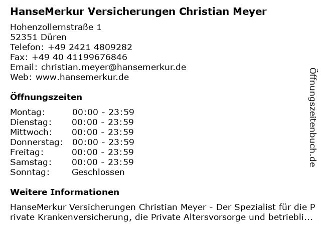 HanseMerkur Versicherungen Christian Meyer in Düren: Adresse und Öffnungszeiten