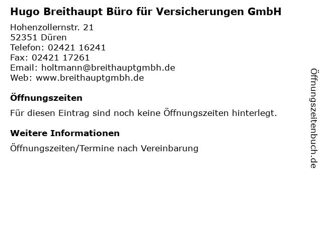 Hugo Breithaupt Büro für Versicherungen GmbH in Düren: Adresse und Öffnungszeiten