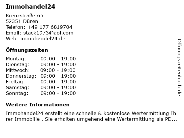 Immohandel24 in Düren: Adresse und Öffnungszeiten
