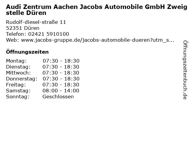 Jacobs Automobile Düren (Volkswagen, Audi, SEAT & CUPRA) - Audi Zentrum Aachen Jacobs Automobile GmbH Zweigstelle Düren in Düren: Adresse und Öffnungszeiten