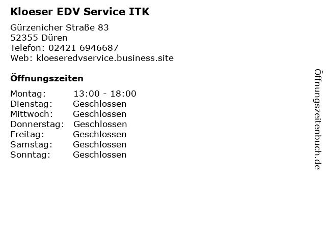 Kloeser EDV Service ITK in Düren: Adresse und Öffnungszeiten