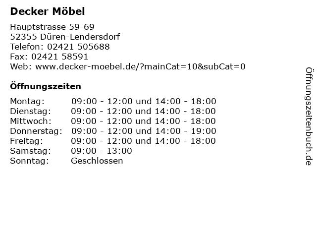 ᐅ Offnungszeiten Decker Mobel Hauptstrasse 59 69 In Duren