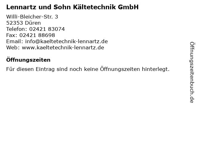 Lennartz und Sohn Kältetechnik GmbH in Düren: Adresse und Öffnungszeiten