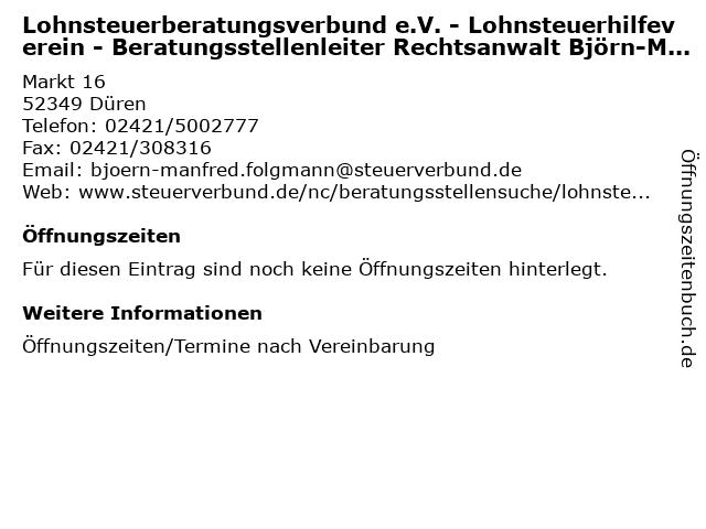 Lohnsteuerberatungsverbund e.V. - Lohnsteuerhilfeverein - Beratungsstellenleiter Rechtsanwalt Björn-Manfred Folgmann in Düren: Adresse und Öffnungszeiten